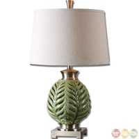 Flowing Fern Crackle Lime Green Glazed Table Lamp 26285
