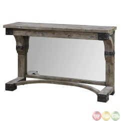 Rustic Gray Sofa Table Milan 2 Piece Leather Set And Loveseat Nelo Weathered Wood Console 24315 Ebay