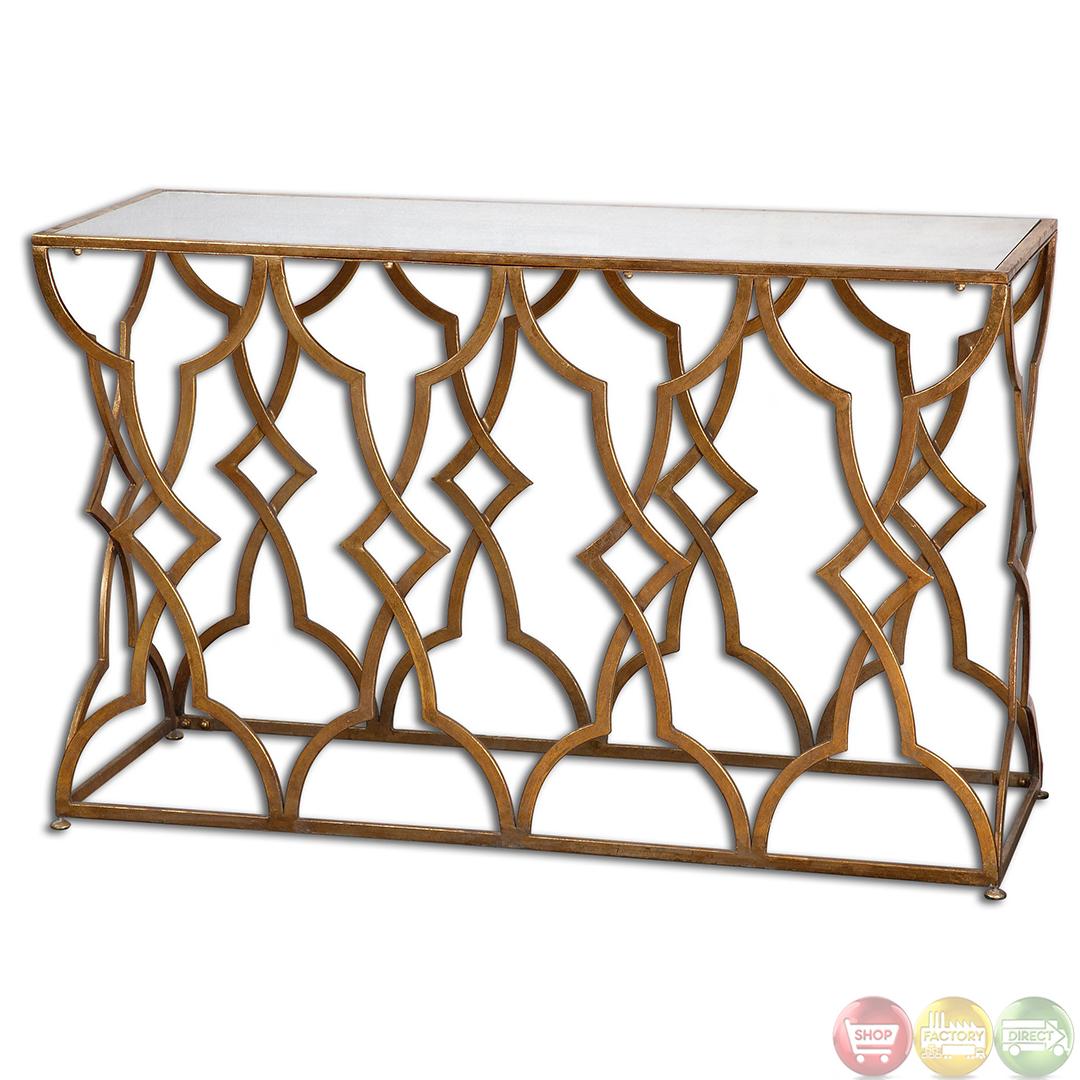 gold glass sofa table pb comfort sectional reviews osea antique leaf finish mirror top console