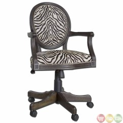 Zebra Print Office Chair Portable With Canopy And Footrest Solid Mahogany Wood Frame Swivel Desk