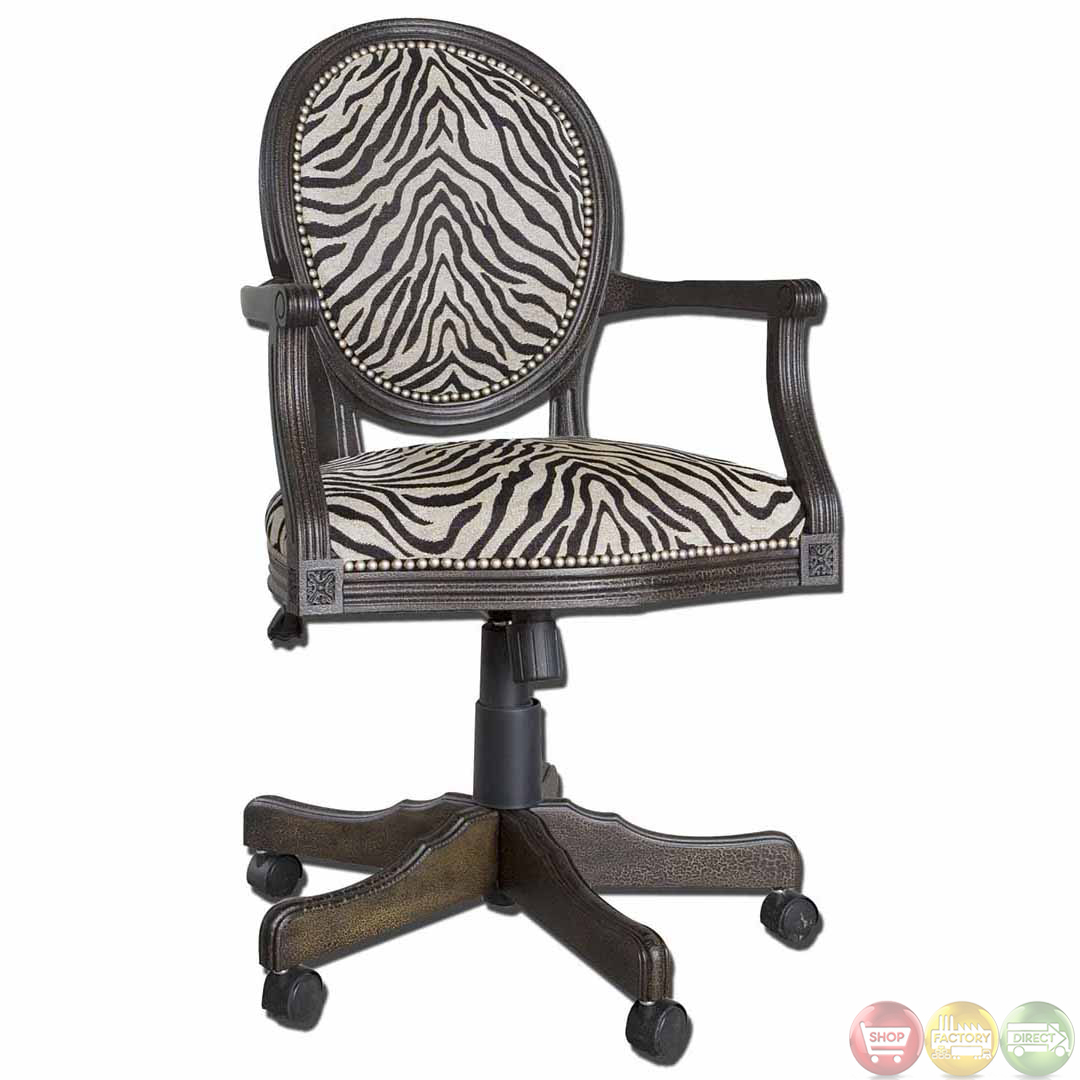 Swivel Desk Chairs Zebra Print Solid Mahogany Wood Frame Swivel Office Desk