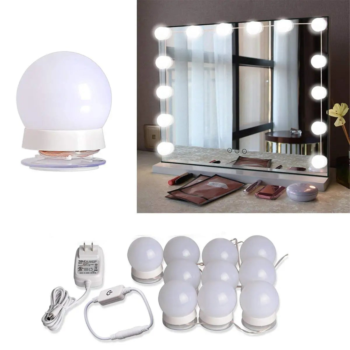 LED Vanity Mirror Light Kit with 10 Dimmable Light Bulbs