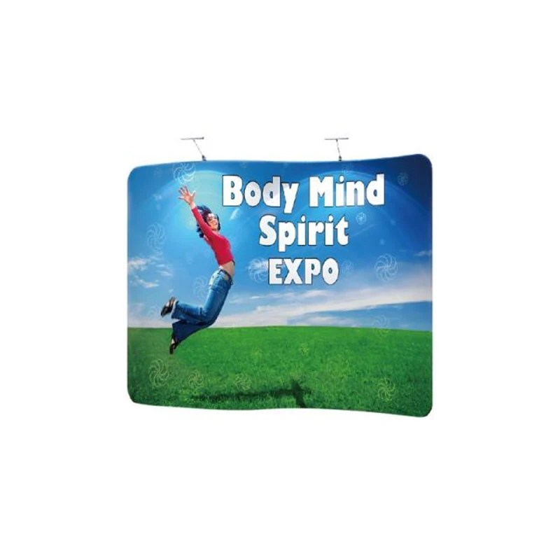 10Ft x 8Ft S Shape Tension Fabric Backdrop for Event. Expo Display