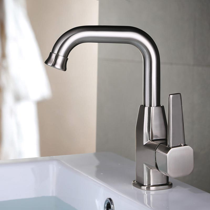 stainless steel rotatable kitchen faucet bathroom sink faucet one hole single handle brushed nickel kitchen tap