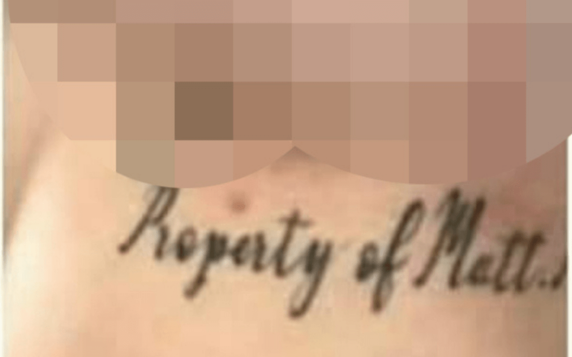 Markcrow has been accused of tattooing his victims, with a image on his Facebook showing women with the words 'Property of Matt. M' on them.
