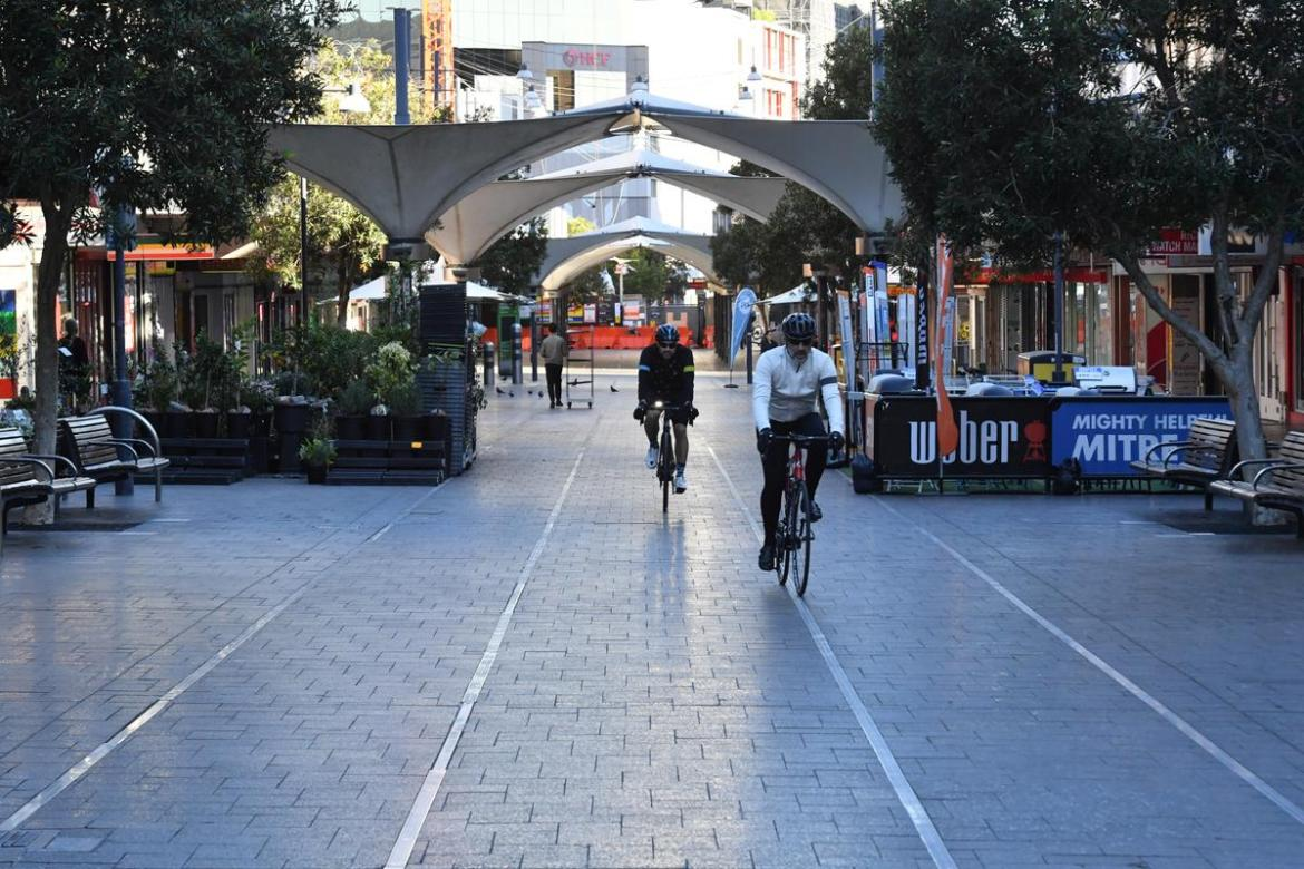 Empty streets are seen at Bondi Junction in Sydney, Saturday, June 26, 2021