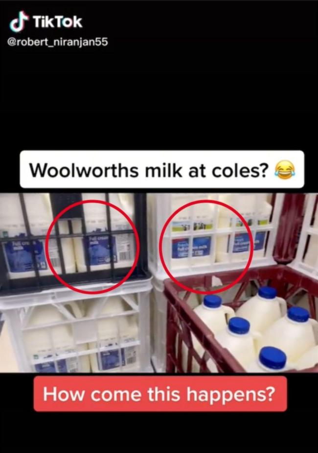 A Coles driver said he was shocked to see five crates of Woolworths branded milk included in a Coles delivery.