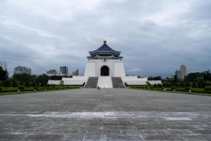 An overview of the empty Chiang Kai-Shek Memorial Hall, one of the largest tourist areas in Taipei, amid fears of a coronavirus pandemic (COVID-19) in Taipei, Taiwan on April 6, 2020.