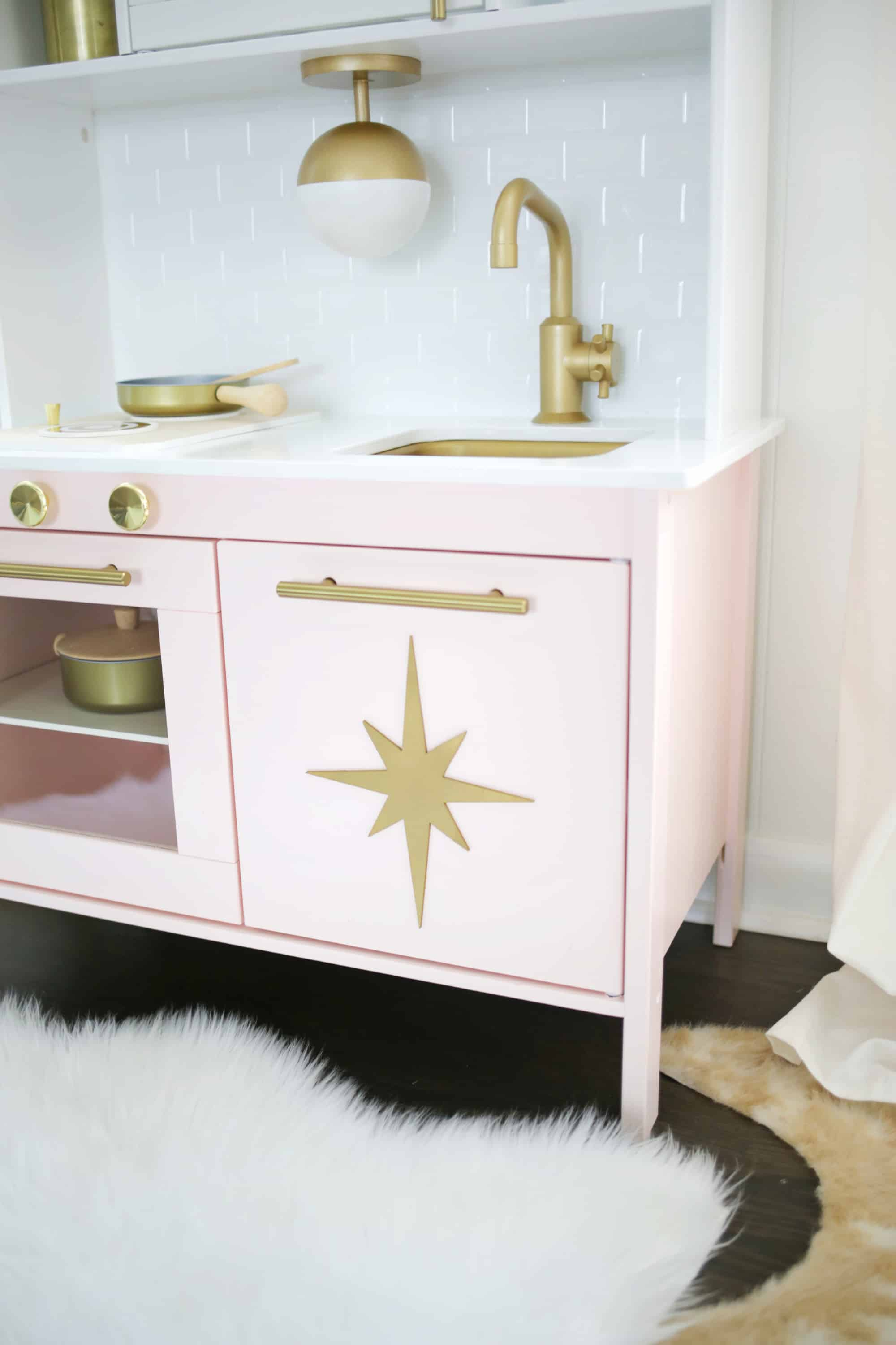 play kitchen ikea where to buy cheap cabinets mid century modern hack a beautiful mess switching out the hardware was pretty easy although you could paint handles as well for budget version and i also painted gold star wooden decal