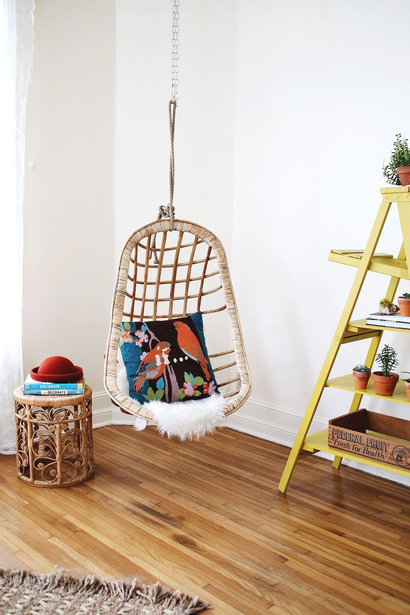 indoor hanging chair with stand lounge towel clips we hung a and it s awesome beautiful mess wicker