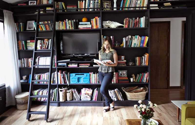 bookshelf in living room french country decor ideas 2 home tour emma s a beautiful mess abeautifulmess com