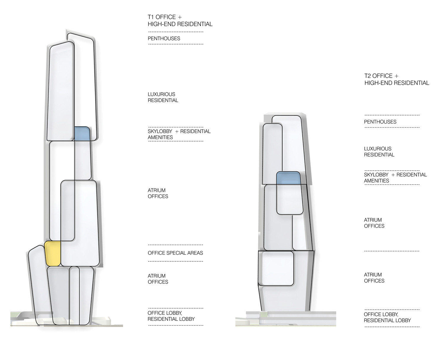 hight resolution of yongjia world trade centre unstudio tower typology diagram