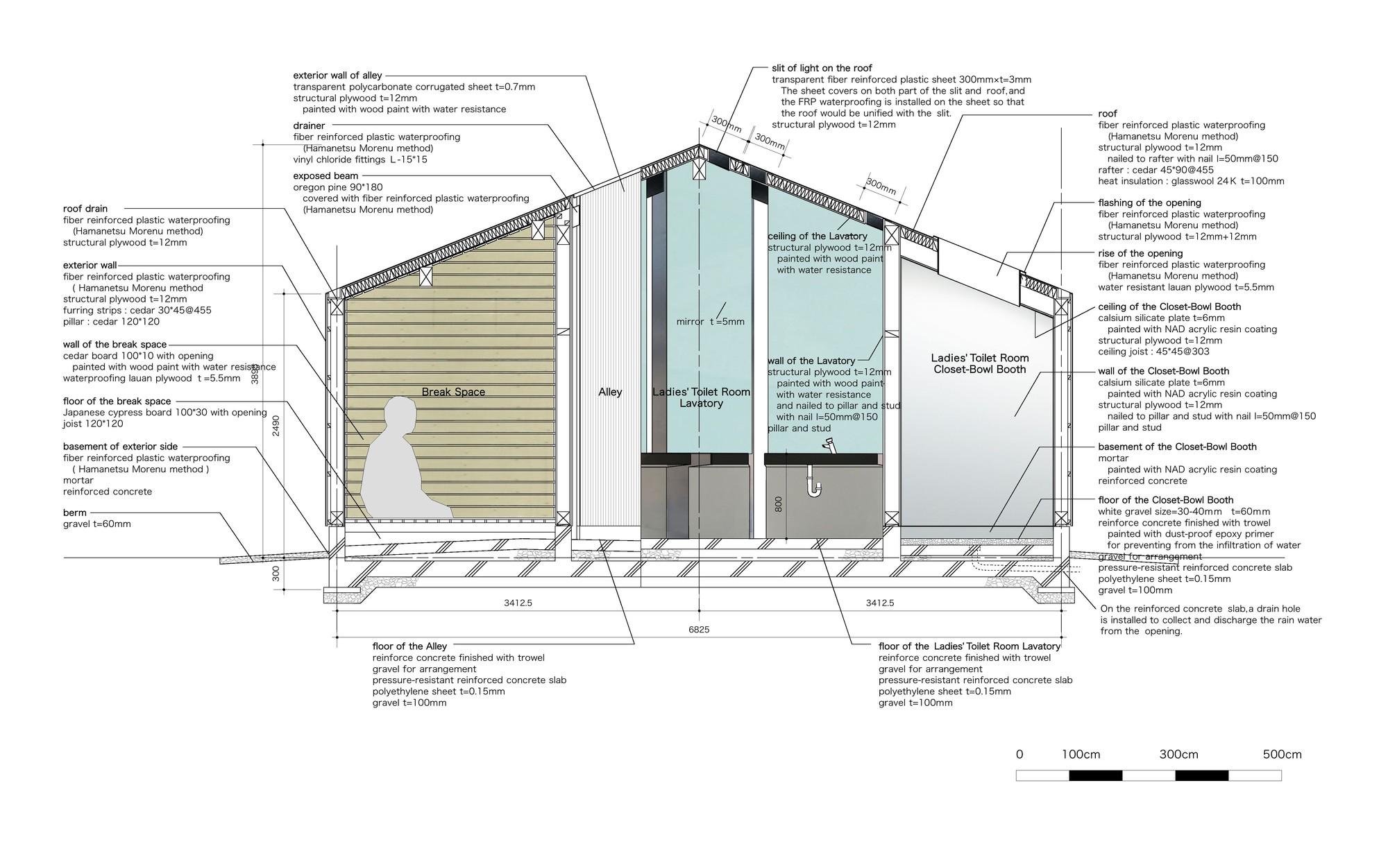 house of toilet daigo ishii future scape architects detail diagram [ 2000 x 1217 Pixel ]