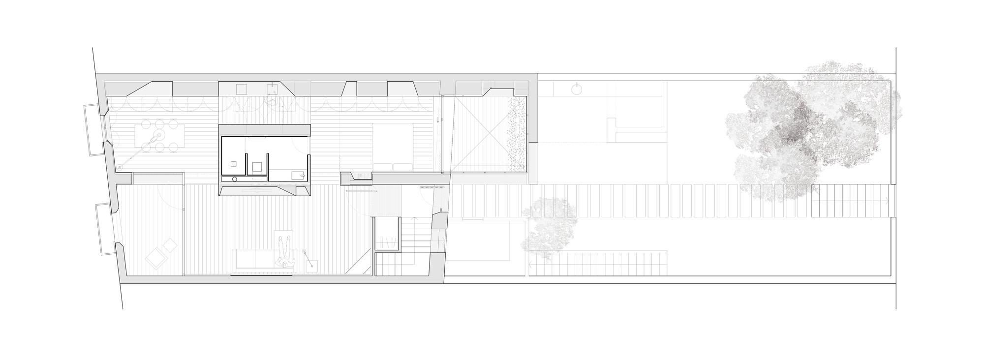 tile house cubus floor plan [ 2000 x 732 Pixel ]