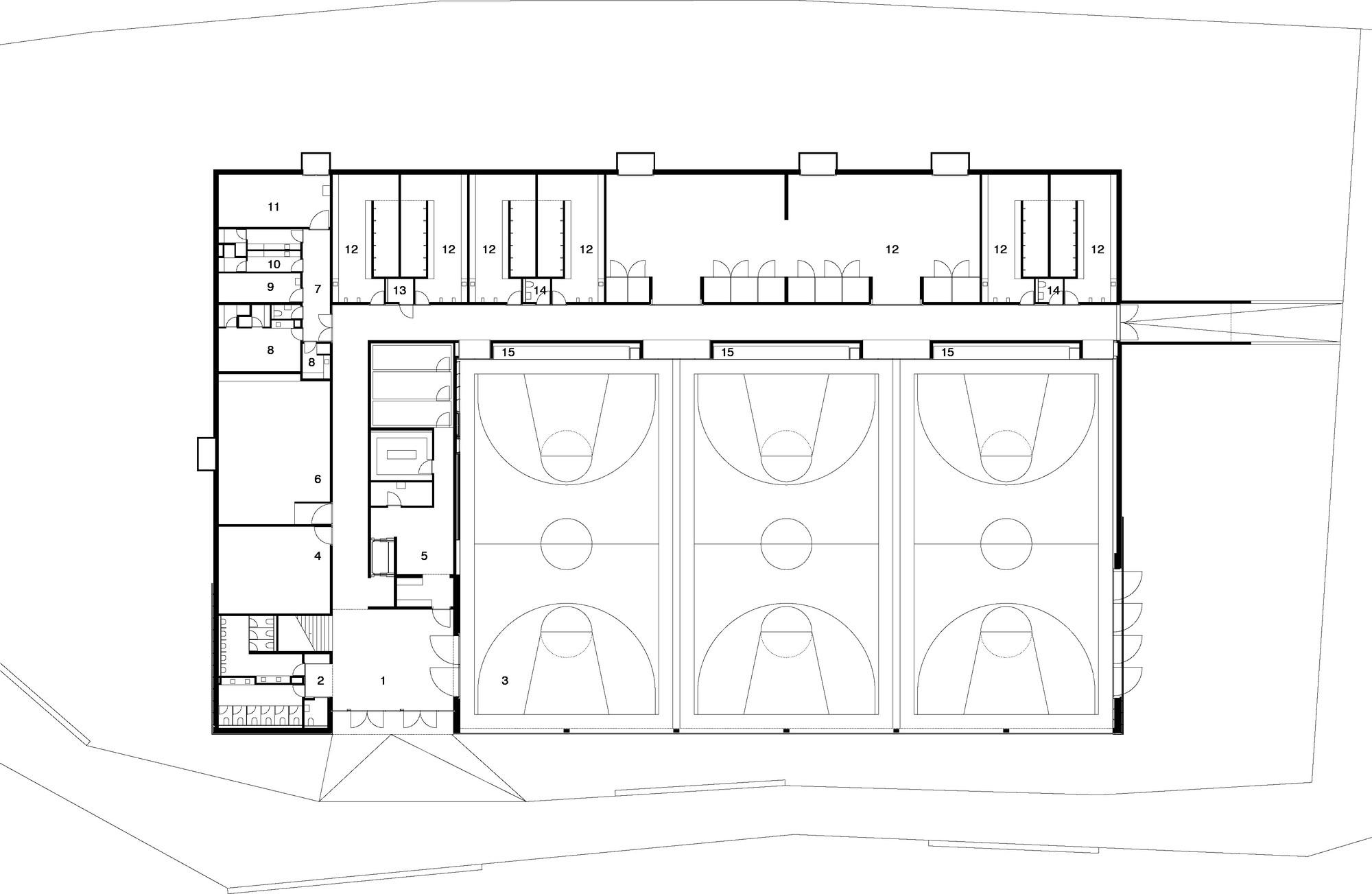 Best Kitchen Gallery: Gallery Of Lussy Sport Hall Virdis Architecture 17 of Sport Gym Floor Plan on rachelxblog.com