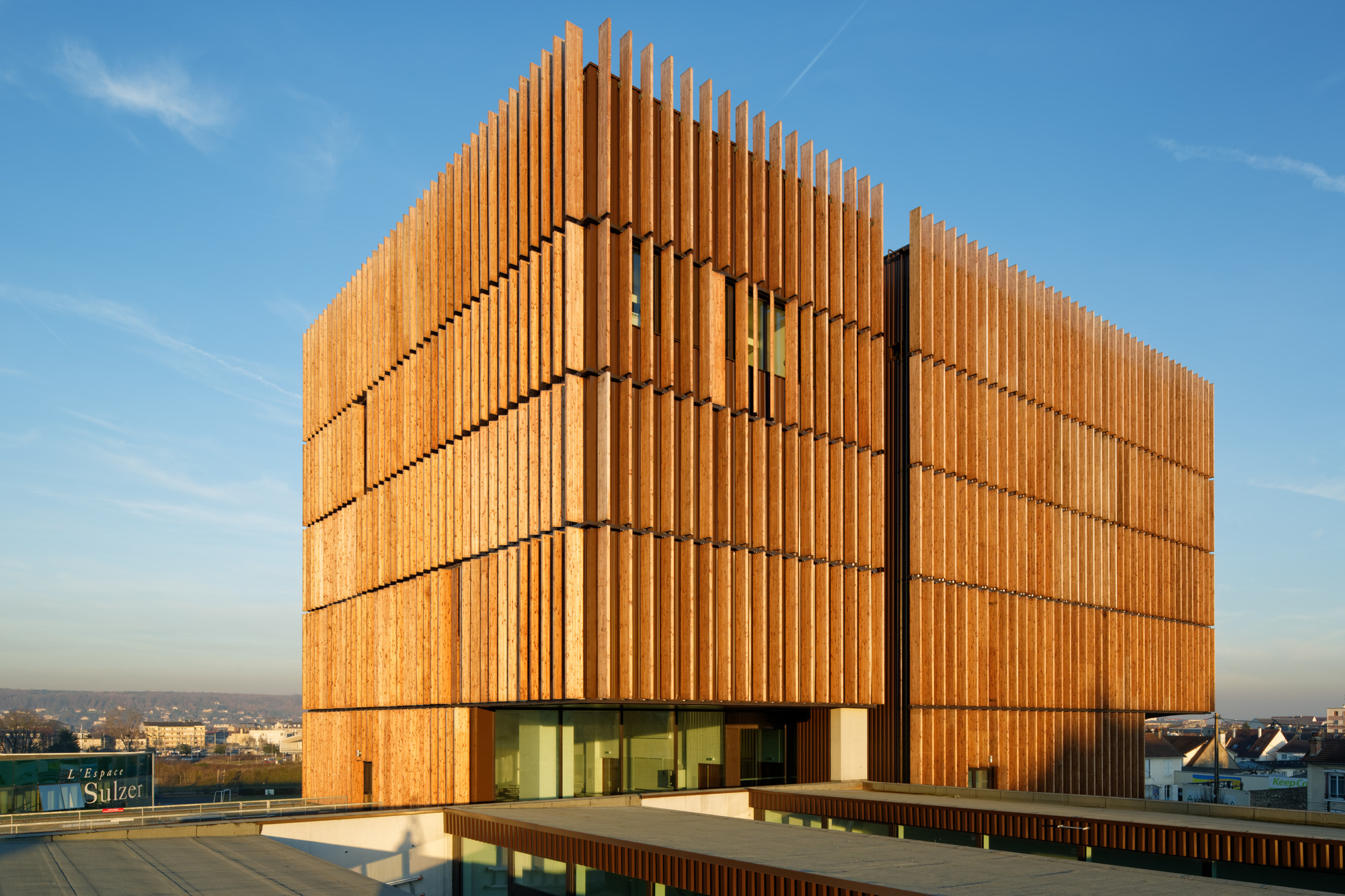 Wood Vertical Louver Architecture