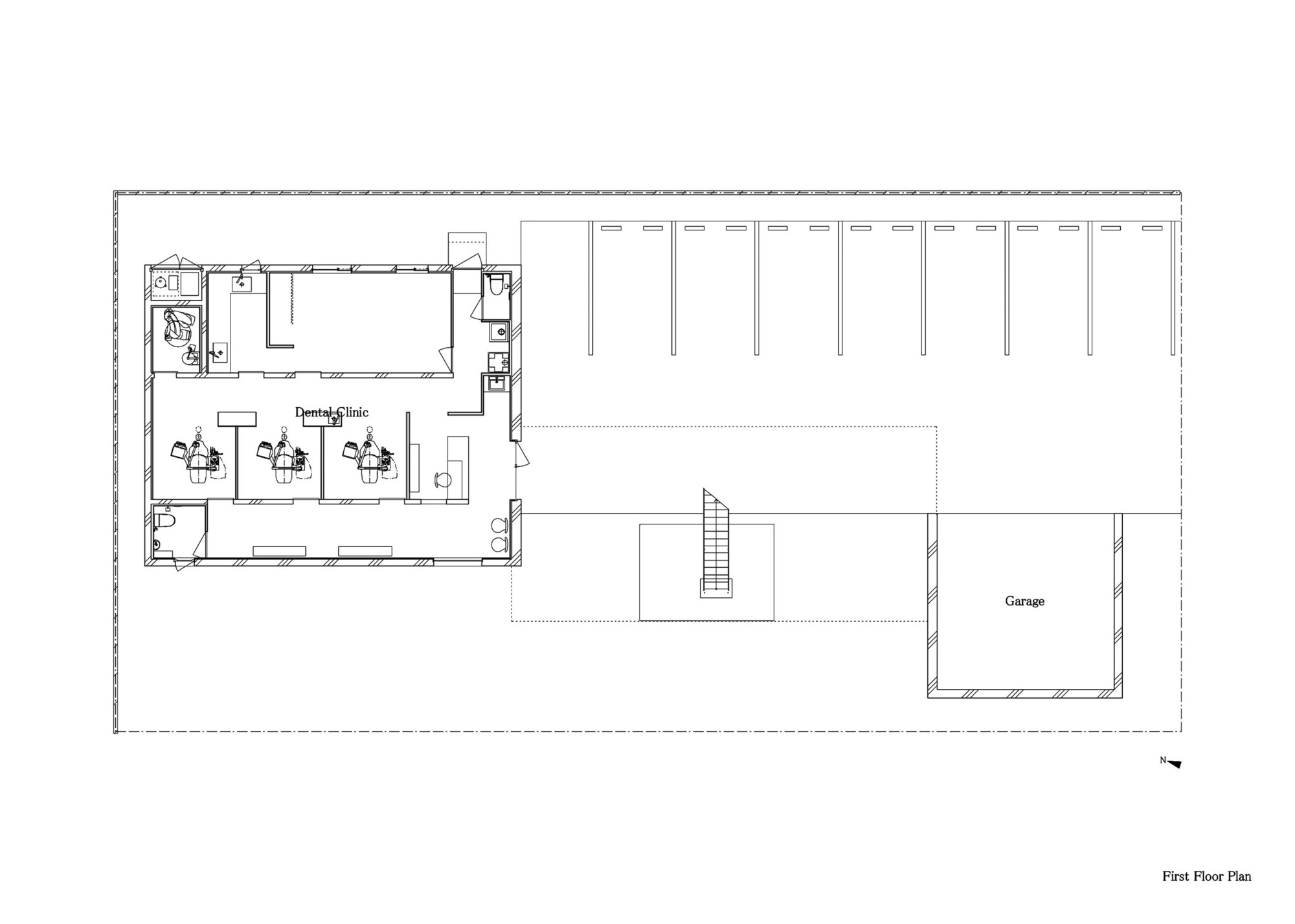 nagasawa dental clinic first floor plan [ 2000 x 1427 Pixel ]
