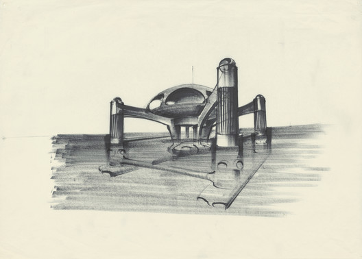 "Design of ""Atlantis"" for The Spy Who Loved Me, GB/USA 1977, Directed by Lewis Gilbert. Image © Sir Ken Adam, Deutsche Kinemathek – Ken Adam Archive"