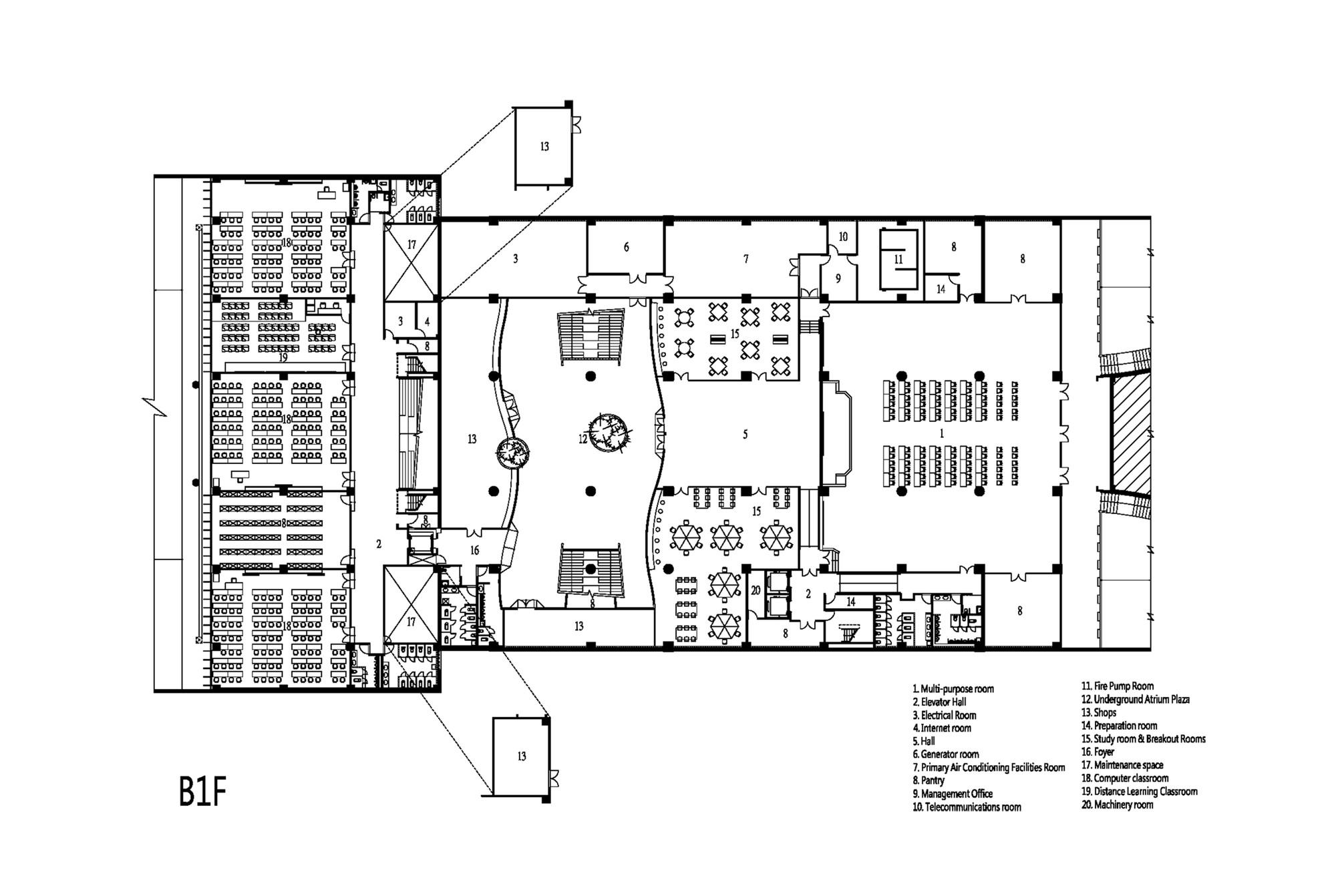taipei univesity library liao architect associates basement floor plan [ 2000 x 1342 Pixel ]