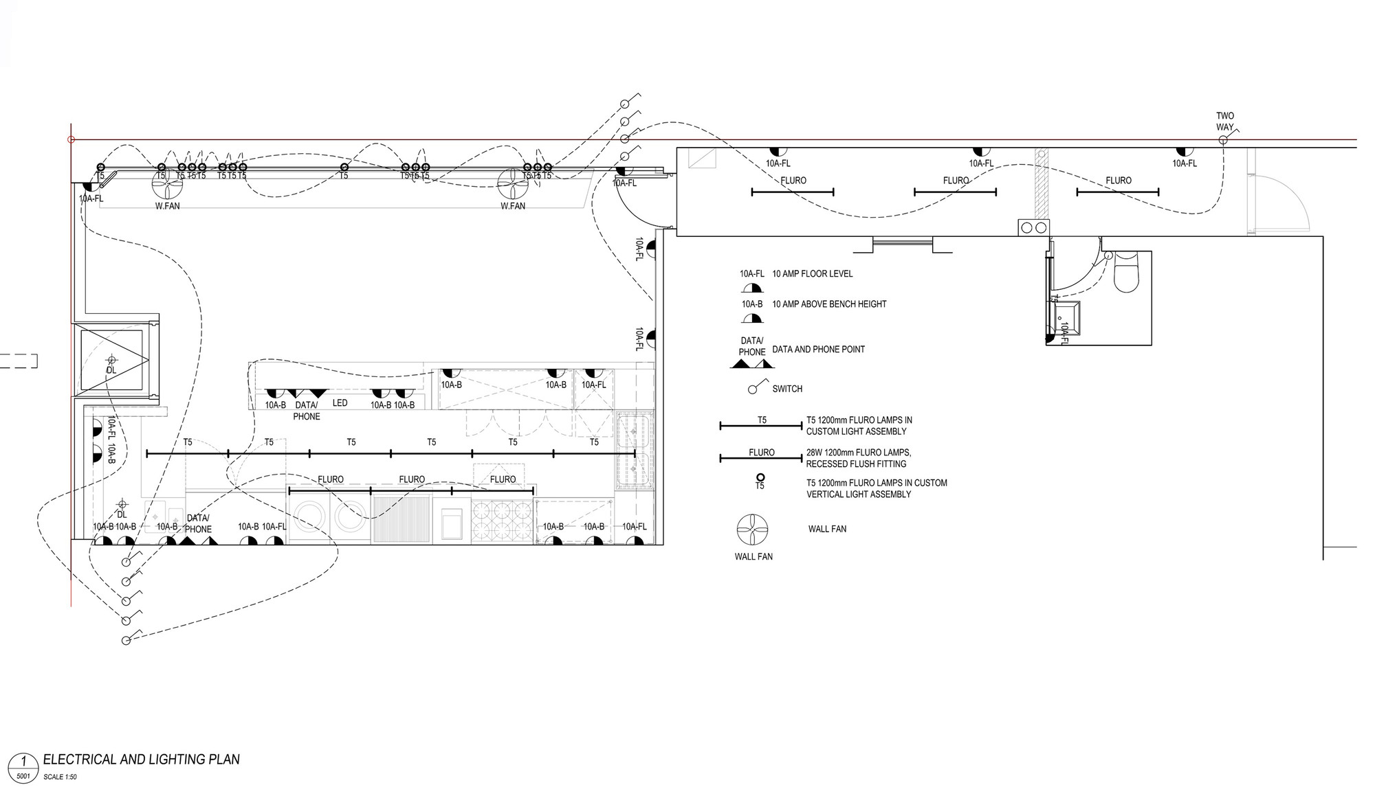 hight resolution of vietnamese restaurant phamily kitchen electrical and lighting plan