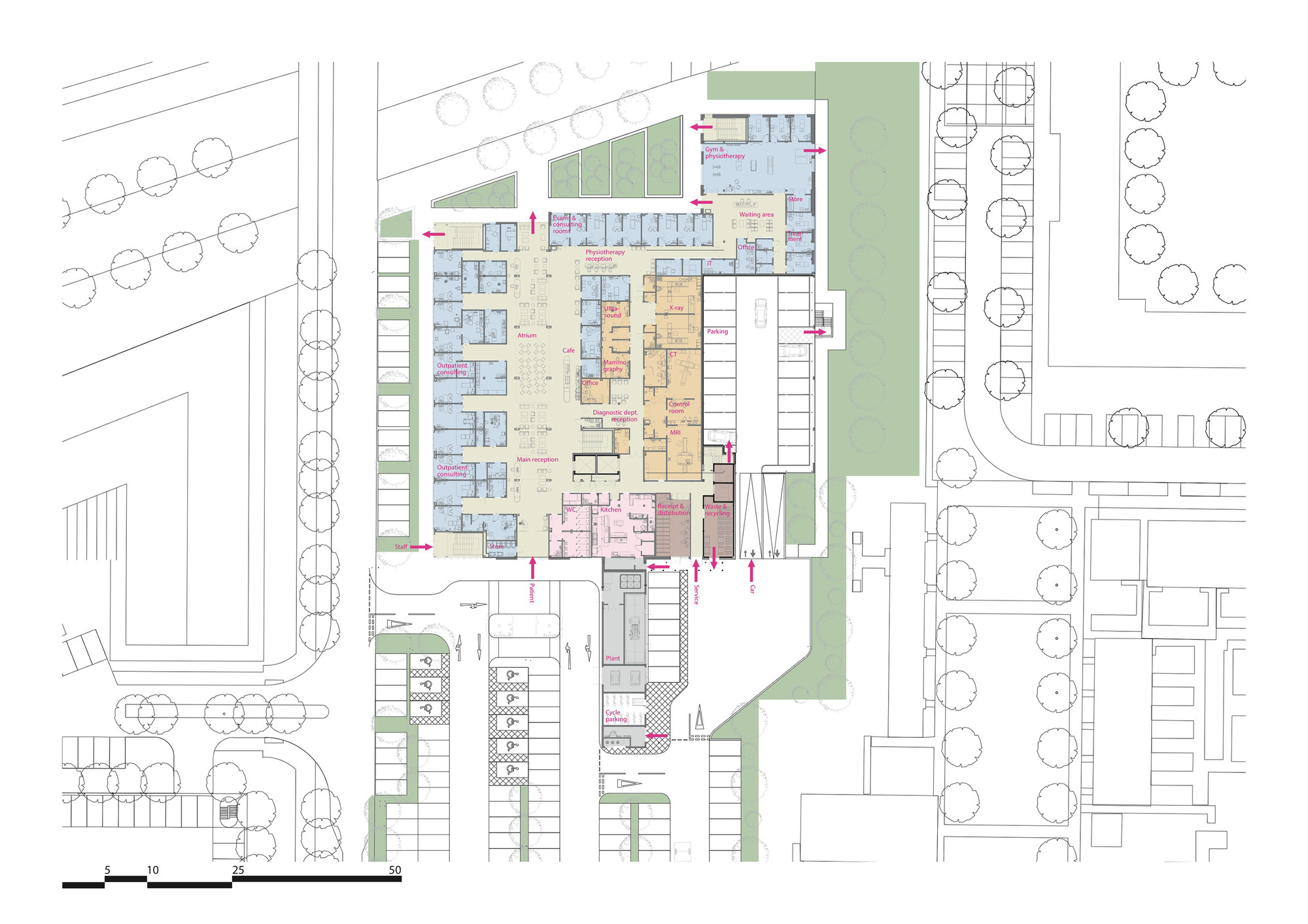 circle reading hospital brydenwood ground floor plan [ 2000 x 1414 Pixel ]