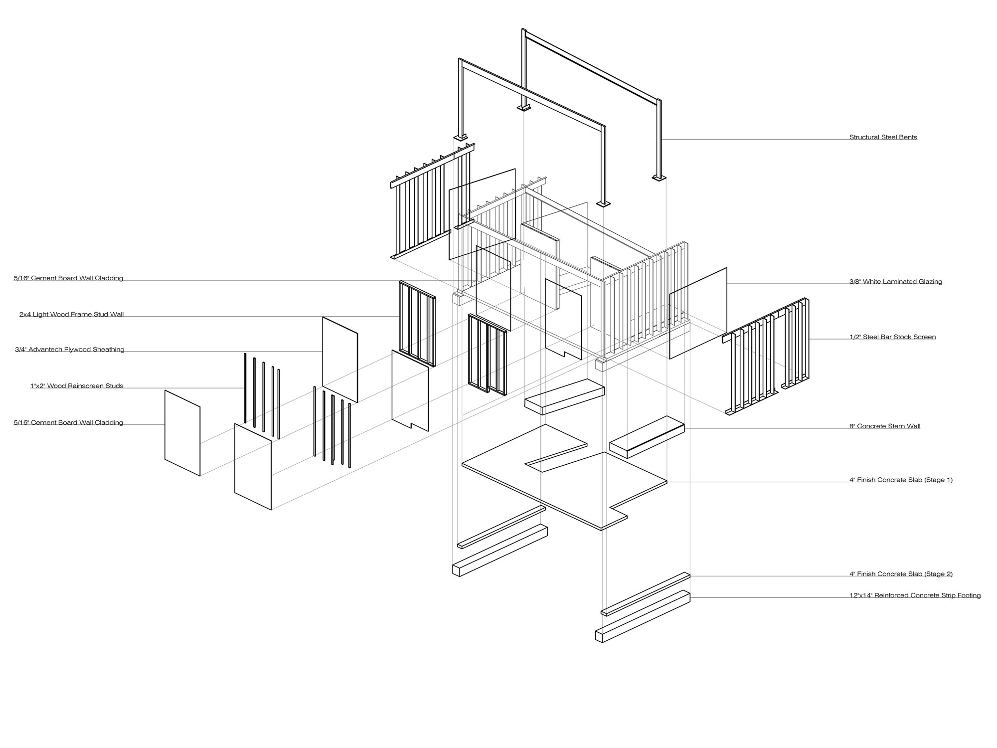 exploded axon diagram copyright architectural drawings and sharon fieldhouse design buildlab archdaily