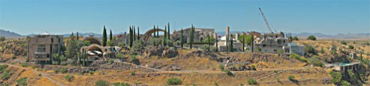Panoramic view of Arcosanti. Image © Ken Howie