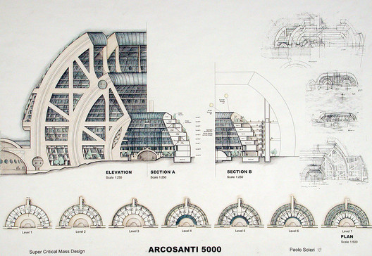 """<a href='https://arcosanti.org/'>via arcosanti.org</a>. ImageSectional view of Soleri's 2001 design for a completed version of Arcosanti, entitled """"Arcosanti 5000"""""""