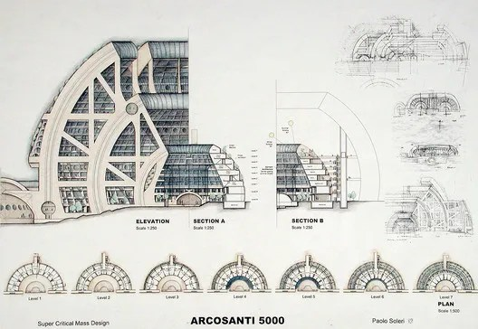 "<a href='https://arcosanti.org/'>via arcosanti.org</a>. ImageSectional view of Soleri's 2001 design for a completed version of Arcosanti, entitled ""Arcosanti 5000"""