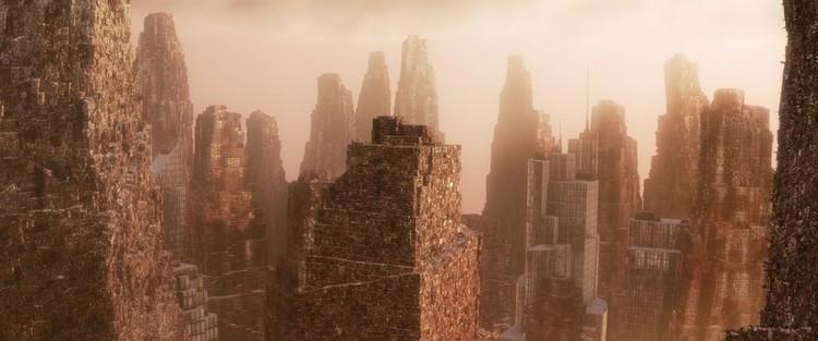 """No filme """"Wall-E"""", arranha-céus de lixo dominam o horizonte. Imagem © Pixar"""