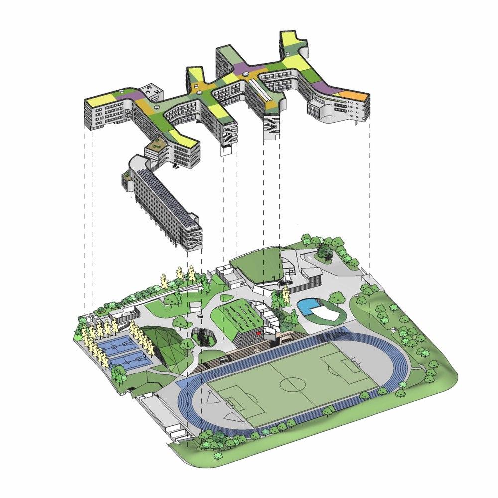 hight resolution of garden school open architecture landscape diagram