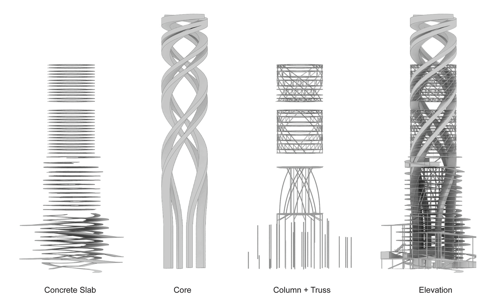 hight resolution of alternative car park tower proposal mozhao studio structure diagram