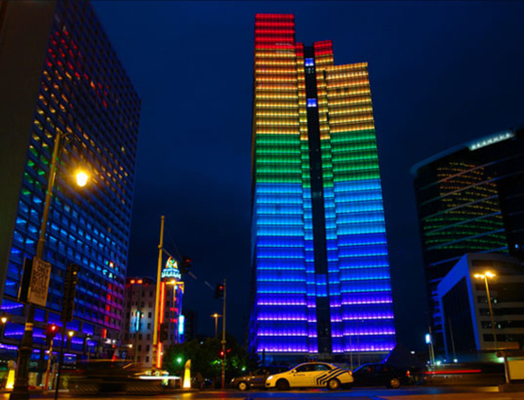 Dexia Towers Rainbow LEDs  labau  ArchDaily