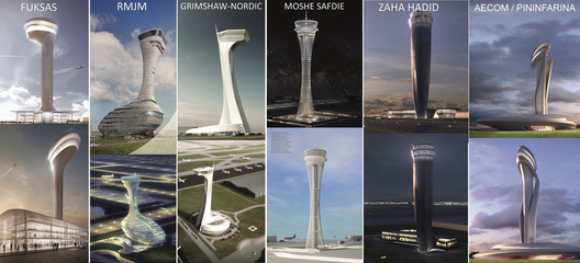 Proposed designs for Istanbul New Airport's Traffic Control Tower. Image © iGA