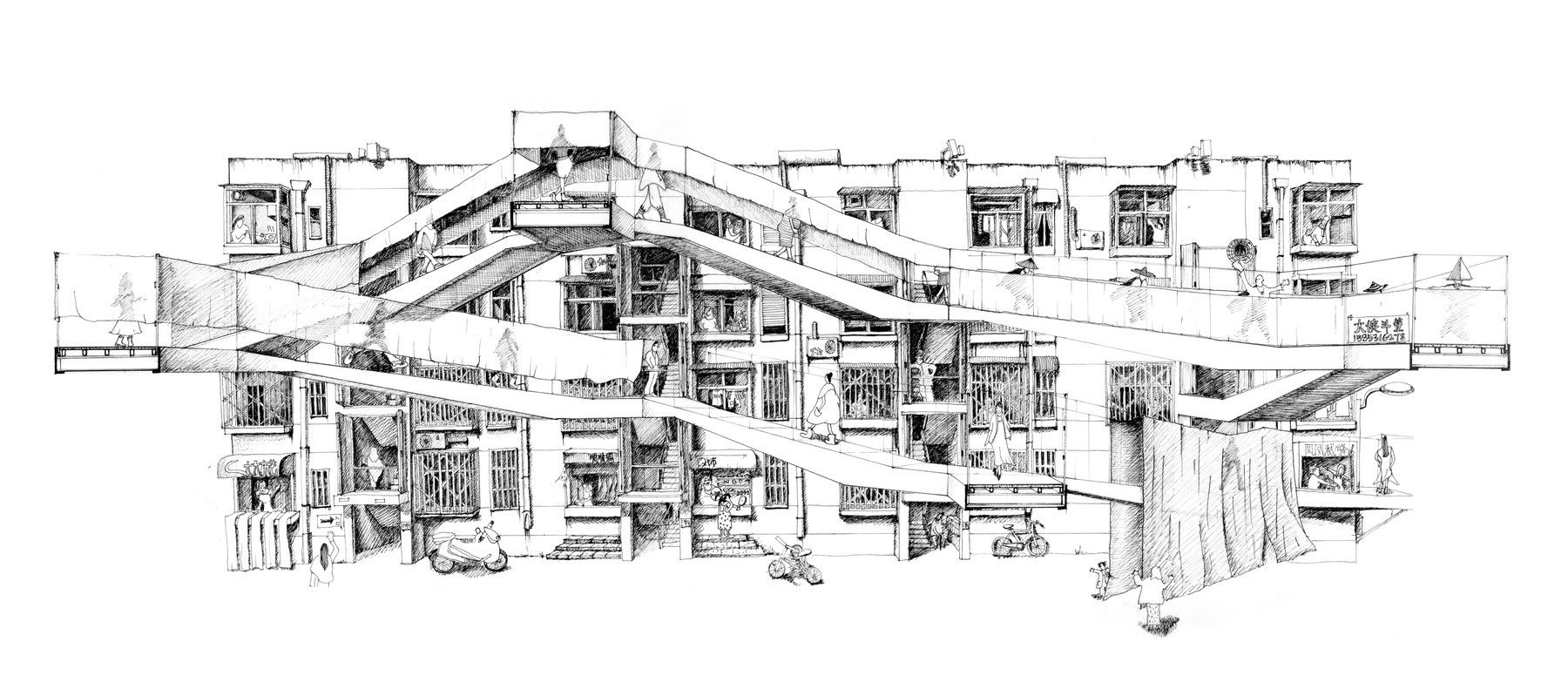 antidote to modernism feifei feng s bespoke intervention on slab housing in jinan [ 1800 x 783 Pixel ]