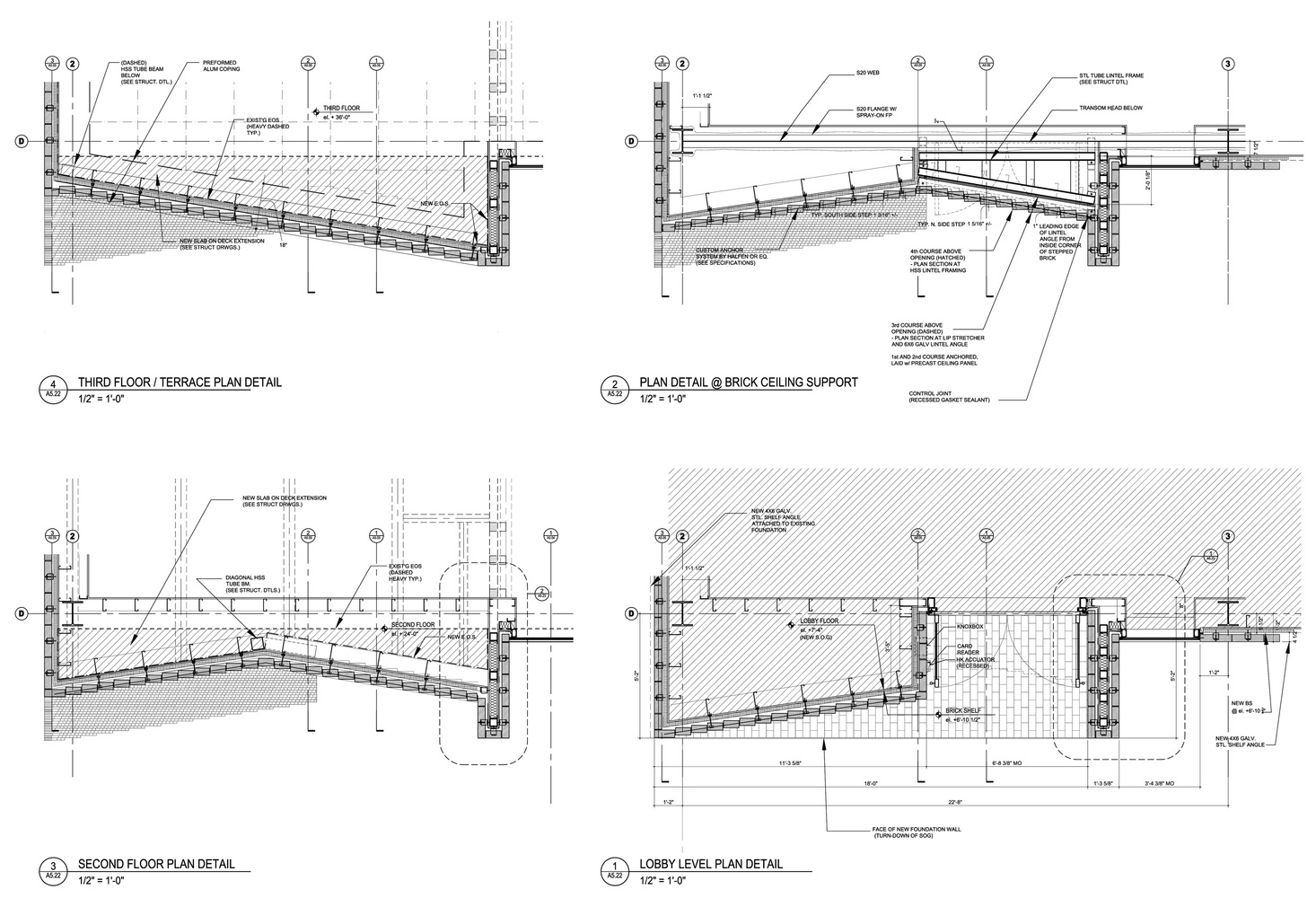 hight resolution of tozzer anthropology building entry brick plan detail