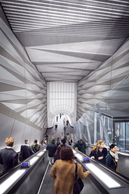 Liverpool Street Station, Proposed Upper Escalator. Image Courtesy of Crossrail