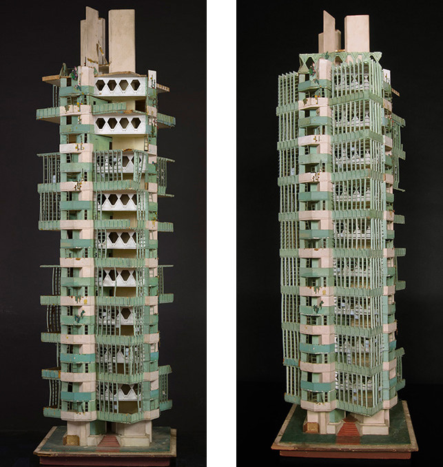 Model of St. Mark's-in-the-Bouwerie. Unbuilt project. New York, New York. 1927-31. Painted wood. 53 x 16 x 16″ (134.6 x 40.6 x 40.6 cm). Image © The Frank Lloyd Wright Foundation Archives (The Museum of Modern Art | Avery Architectural & Fine Arts Library, Columbia University, New York)