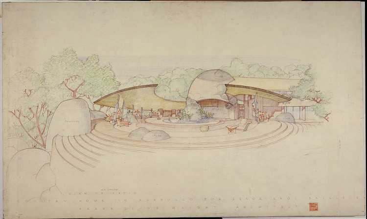 Raul Bailleres House (Acapulco, Mexico). Unbuilt Project. 1952. Brown ink, pencil and color pencil on tracing paper. 31 3/4 x 52 7/8″ (80.6 x 134.3 cm). Image © The Frank Lloyd Wright Foundation Archives (The Museum of Modern Art | Avery Architectural & Fine Arts Library, Columbia University, New York)