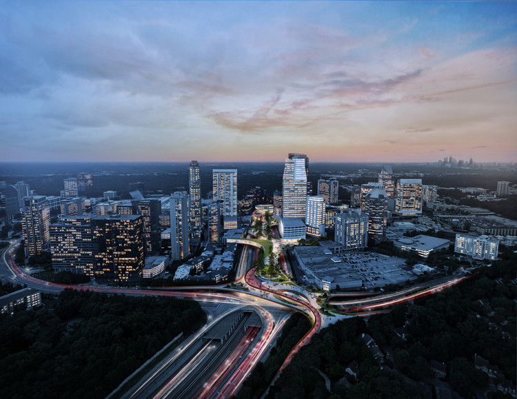 Green Urban Park Floating Above a Highway Unifies Buckhead Neighborhood in Atlanta, Aerial view looking south at dusk. Image Courtesy of Roger Partners / Nelson Byrd Woltz