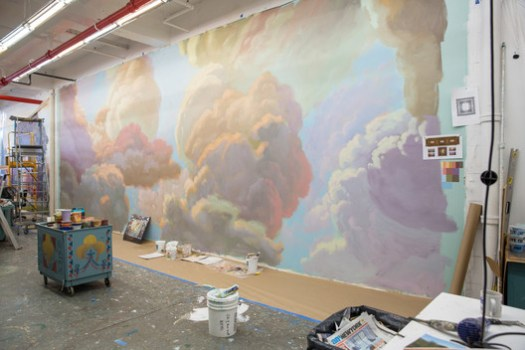 The recreated ceiling mural in the studio before installation. Image © Jonathan Blanc / NYPL