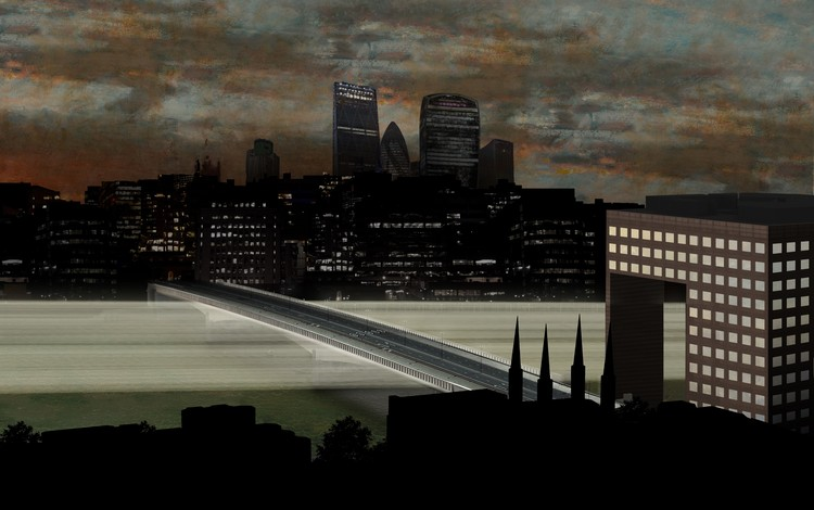 Thames Nocturne / Sam Jacob Studio and Simon Heijdens. London Bridge. Image © Malcolm Reading Consultants and Sam Jacob Studio and Simon Heijdens
