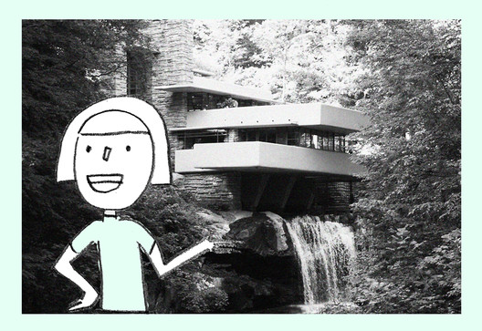© Sharon Lam, imagem de <a href='https://commons.wikimedia.org/wiki/File:Fallingwater_-_by_Frank_Lloyd_Wright.jpg'>Wikipedia user Somach</a> licensed under <a href='https://creativecommons.org/licenses/by-sa/3.0/'>CC BY-SA 3.0</a>