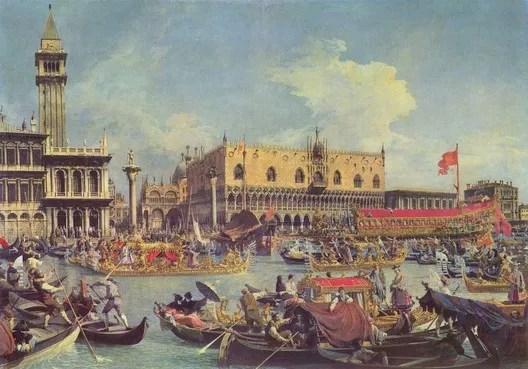 Canaletto's 'Il ritorno del Bucintoro nel Molo il giorno dell'Ascensione' (1730) Public Domain