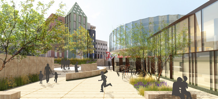 Proposed architectural rendering of the North Building from Kemper Courtyard. Image Courtesy of Fentress Architects and Machado Silvetti