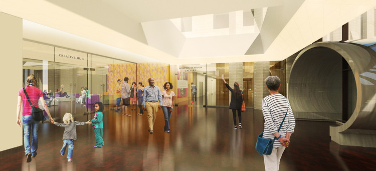 Proposed architectural rendering of Silber Hall, creative hub entrance and North Building elevator lobby. Image Courtesy of Fentress Architects and Machado Silvetti