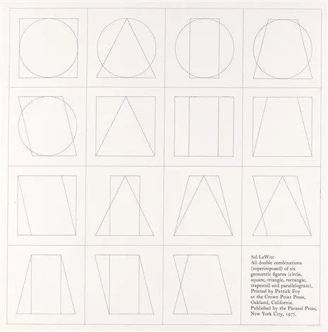 Sol LeWitt, All Double Combinations (Superimposed) of Six Geometric Figures (Circle, Square, Triangle, Rectangle, Trapezoid and Parallelogram), 1977. Image via <a href='http://www.artnet.com/artists/sol-lewitt/all-double-combinations-superimposed-of-six-vImvdYvL8SPmcHPzOBj1bA2'>artnet.com</a> used under fair use