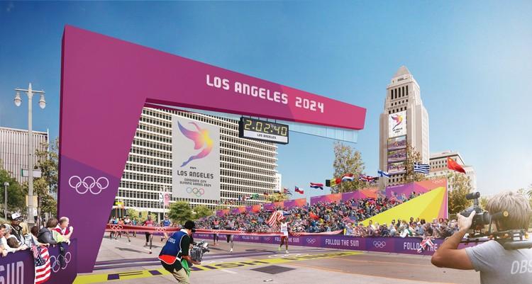 Downtown Sports Park - Marathon Finish - City Hall. Image Courtesy of LA 2024