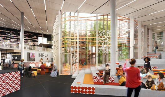 Interior functions are organised around a central atrium. Image Courtesy of Sweco