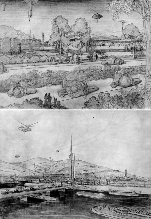 Frank Lloyd Wright's Broadacre City sketches. Image © <a href='https://www.flickr.com/photos/41894185893@N01/3444914'>Flickr user kjell</a> licensed under <a href='http://https://creativecommons.org/licenses/by-sa/2.0/deed.en'>CC BY-SA 2.0</a>